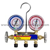 """Yellow Jacket 41781 Manifold with 5/16"""" Fittings, 2-1/2"""" Steel Case Gauges, bar/MPa, R-410A"""