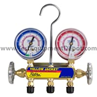 Yellow Jacket 41781 Manifold with 5/16 Fittings, 2-1/2 Steel Case Gauges, bar/MPa, R-410A