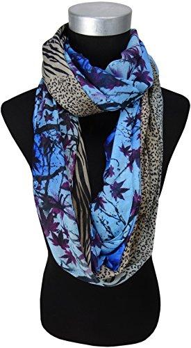 dames Loop Echarpe bleu brun violet noir beige à dessins - taille 150 x 110 cm