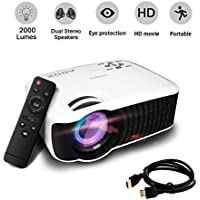 Video Projector, ABOX T22 2000 Lumens Mini LED Projector Video Home Projector with HDMI Output Support 1080P USB SD Card VGA AV for Home Cinema TV Abox PC Laptop Game iPhone Andriod Smartphone, White