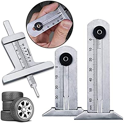 Wakauto Verificador de Profundidad de la Banda de Rodadura de Acero Inoxidable medidor de Profundidad de neum/áticos 3pcs para autom/óviles Camiones Furgonetas SUV 0-30 mm + 0-50 mm + 0-60 mm