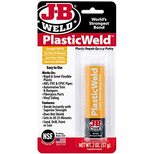 Abs Plastic Glue (J-B Weld 8237 PlasticWeld Plastic Repair Epoxy Putty - 2 oz.)