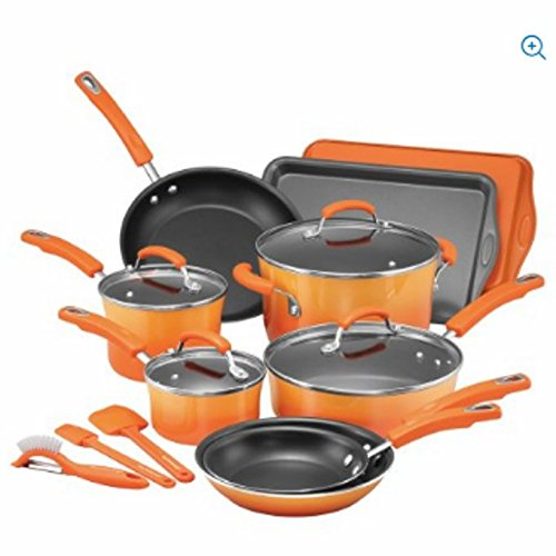 Rachael Ray 16-Piece Hard Porcelain Enamel Nonstick Cookware Set (Orange)