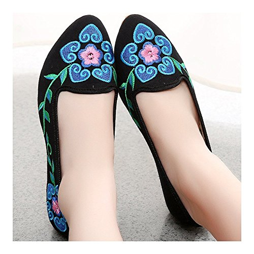 Beijing Shoes black Old Embroidered Cloth Flower 5 Petal 39 wqZtZf