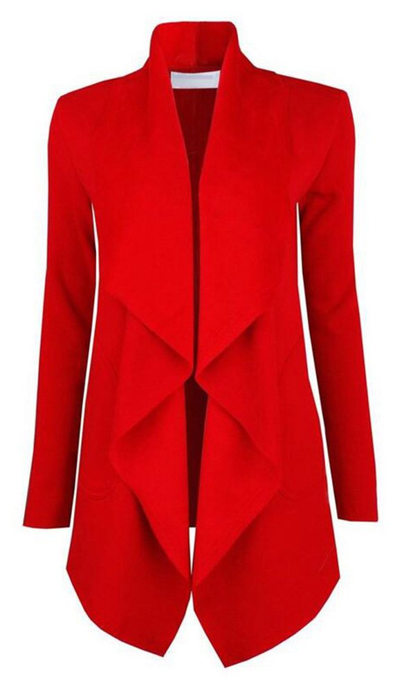 Women's Drape Open Front Waterfall Wrap Trench Coat Jacket