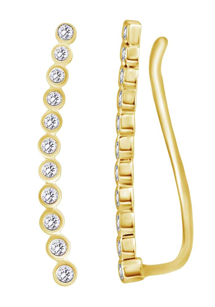 14k Yellow Gold Climber Ear Crawler Earrings With Round Cut White Natural Diamond (0.33 cttw)