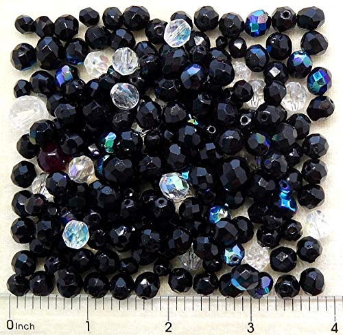 ng 1/4 LB Jet Black Crystal Clear Fire Polished Assorted Bulk Lot Beads ()