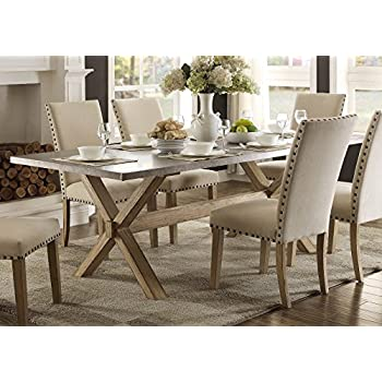 Amazoncom Modern Zinc Top Dining Room Furniture In Weathered - Zinc top dining table