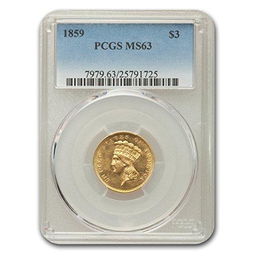 1859 $3 Gold Princess MS-63 PCGS $3 MS-63 PCGS