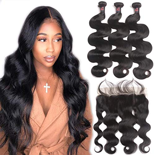 (10A Body Wave Bundles with Frontal Human Hair Bundles with Lace Frontal (18 20 22+16, Natural Black) Resaca Peruvian Body Wave Hair Virgin Hair Ear to Ear 13x4 Frontal Closure with 3 Bundles)