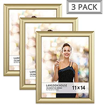 Langdon House 11x14 Picture Frame (3 Pack, Gold), Gold Photo Frame 11 x 14, Wall Mount or Table Top, Set of 3 Celebration Collection