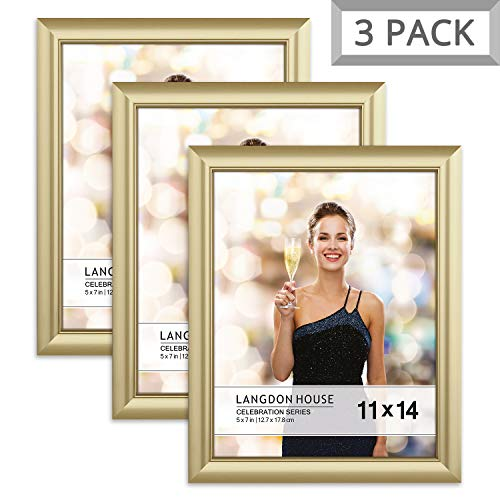 Langdon House 11x14 Picture Frame (3 Pack, Gold), Gold Photo Frame 11 x 14, Wall Mount or Table Top, Set of 3 Celebration Collection (Gold Picture Frames 11x14)