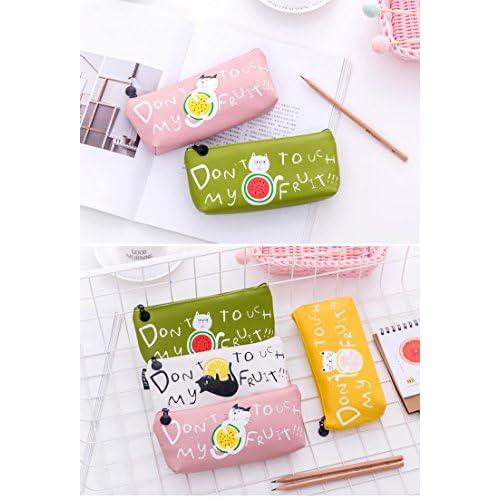 Happy Star® Chaton Chats Fruits Cuir PU mignon trousses cosmétiques Make Up Sacs Pen Pouches blanc