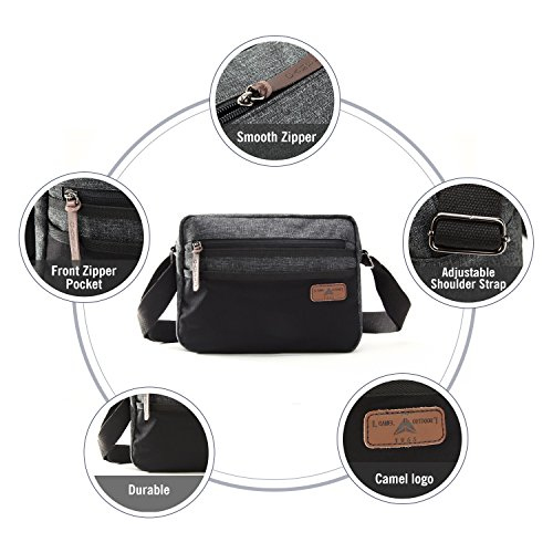 Bag Travel for Camel Crossbody Bag Canvas Pocket Multi Black School Shoulder Women Purse for BZqgqwvx