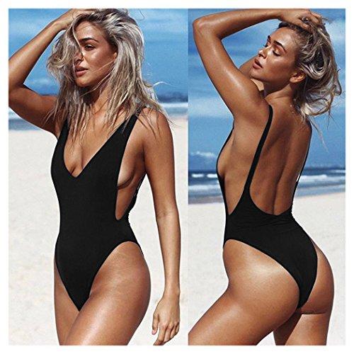 Hermoso conjunto de bikini halter sin mangas V profunda una pieza elastica de cintura alta sin Tanga Body tankini traje de baño traje de baño traje de baño no tapizado inalambrico Negro