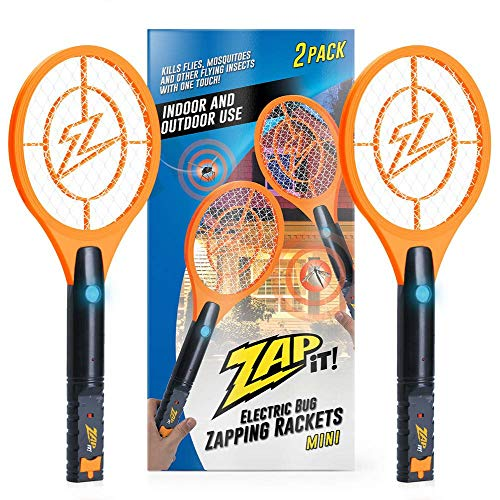 ZAP IT! Mini Twin Pack Bug Zapper - Rechargeable Mosquito, Fly Killer and Bug Zapper Racket - 4,000 Volt - USB Charging, Super-Bright LED Light to Zap in The Dark - Safe to Touch (Orange)