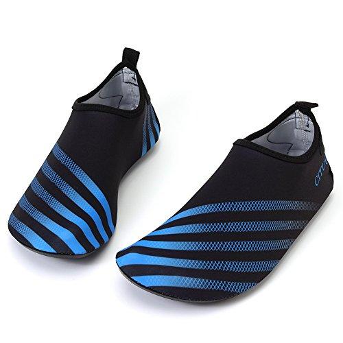 FCKEE Wasser Schuhe Aqua Schuhe Aqua Socken Slip-On Barfuß Leicht Quickdry Durable Sole Mutifunktional Für Strand Schwimmen Surfen Yoga Frauen Kind T.btue