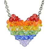 Swarovski Crystal Rainbow Puffy Heart Necklace with Stainless Steel chain