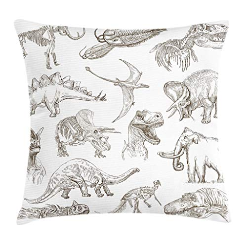 Ambesonne Jurassic Throw Pillow Cushion Cover, Arrangement of Various Dinosaurs Illustrations Skeleton Biology Historic, Decorative Square Accent Pillow Case, 16 X 16 Inches, Dark Brown White