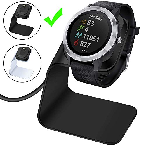 EZCO Charger Dock Compatible with Garmin Vivoactive 3 4 / Vivoactive 3 Music, Premium Aluminm Charging Cable Stand Base Station USB Date Syn for Fenix 5 5X 6 6X Venu Smartwatch, Black