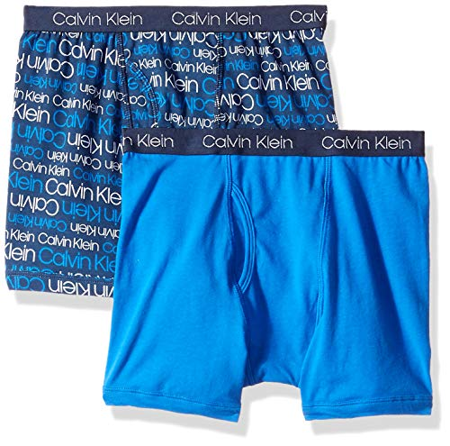 Calvin Klein Boys' Little Assorted 2 Pack Boxer Briefs, New CK Logo Iris/Victoria Blue, Extra-Small