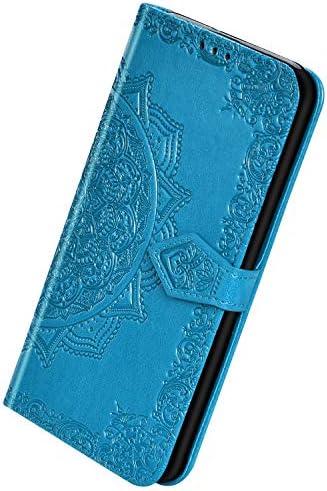 Herbests Kompatibel mit Samsung Galaxy A2 Core Handyhülle Handytasche Leder Hülle Mandala Blumen Muster Schutzhülle Flip Case Brieftasche Hülle Wallet Tasche Klapphülle Ständer Kartenfächer,Blau