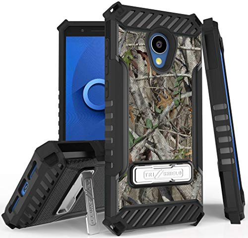 Autumn Camouflage Tree Leaf Real Woods Rugged Hunting Case Camo Cover [Metal Kickstand + Wrist Strap] for Alcatel TCL LX, A502DCP, A502DL (TracFone/Straight Talk/Simple Mobile/Total/Walmart Family)