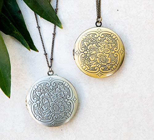 Round Floral Etched Photo Locket Necklace 1 3/8