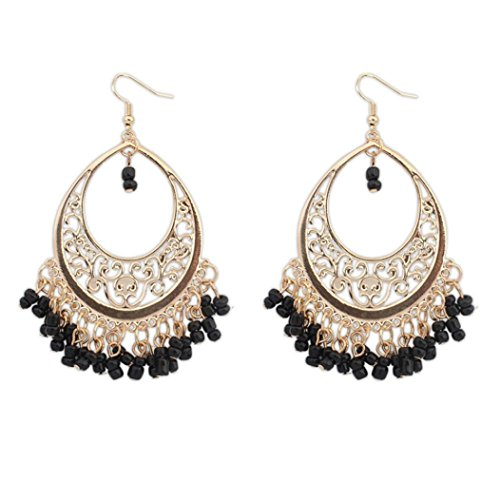 Hollow Hinged Bangle (Auwer Tassel Earrings, Bohemian Europe And The United States Ethnic Style Hollow Beaded Tassel Earrings (Black))