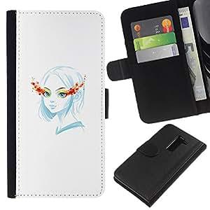 YiPhone /// Tirón de la caja Cartera de cuero con ranuras para tarjetas - Blue Girl - LG G2 D800