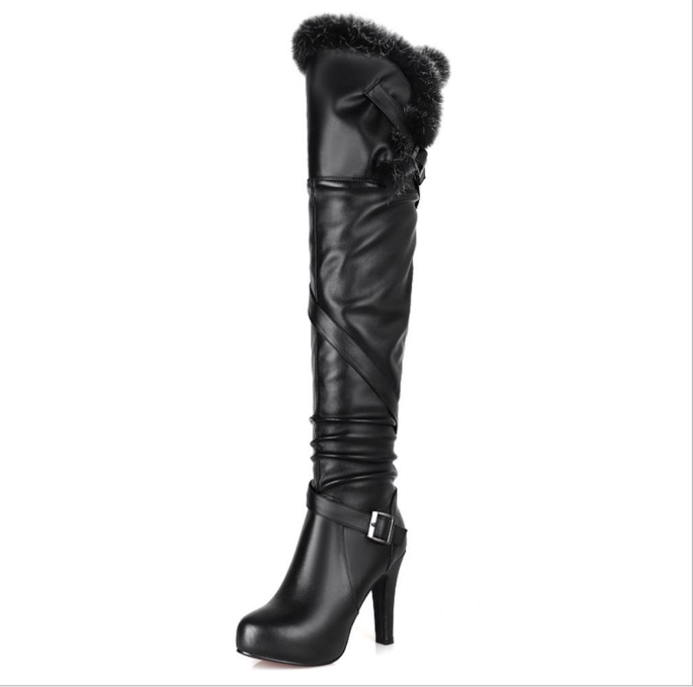 NVXUEZIX Frauen Winter Warme Schuhe Aus Echtem Leder Reißverschluss Stiletto Heels Slouch Stiefel Runde-Toe Casual Style Schwarz, 35