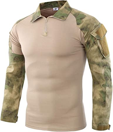 Hommes Sweat-shirt Camouflage Chemise Manches Longues Sweatshirt 2in1 V-col S M L XL