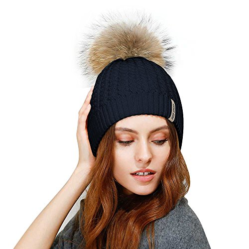 JULY SHEEP Crochet Knit Fur Hat With Real Large fur pompom Beanie Hats Winter Ski cap (Womens Fashion Knit Hat)