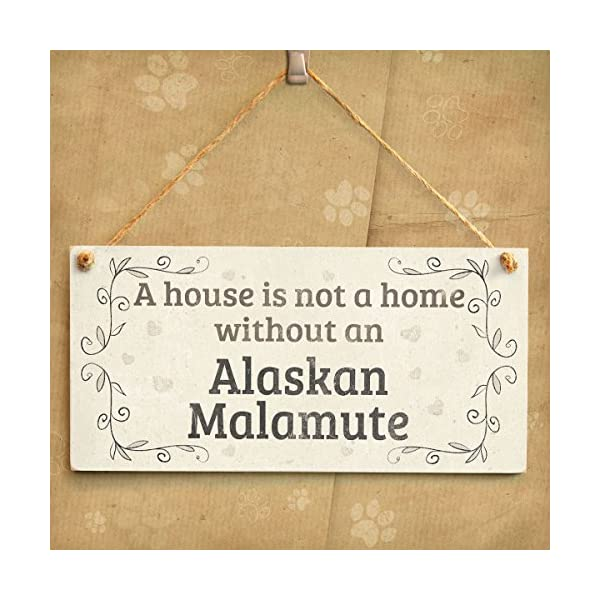 """Meijiafei A House is Not A Home Without an Alaskan Malamute - Rustic PVC Dog Sign/Plaque 10""""x5"""" 2"""