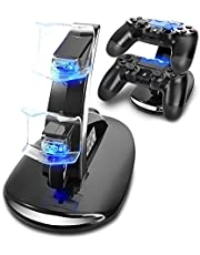 AMANKA PS4 Controller Ladestation Charger, Ladegerät Stand mit USB Kabel für Playstation 4 / PS4 Slim / PS4 Pro Game Controller, Schwarz