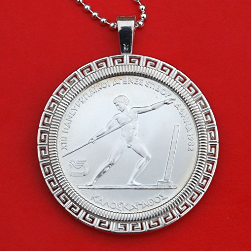 1982 Greece 250 Drachmas XIII European Championship Athens Javelin Throw 90% Silver Coin Solid 925 Sterling Silver Necklace NEW