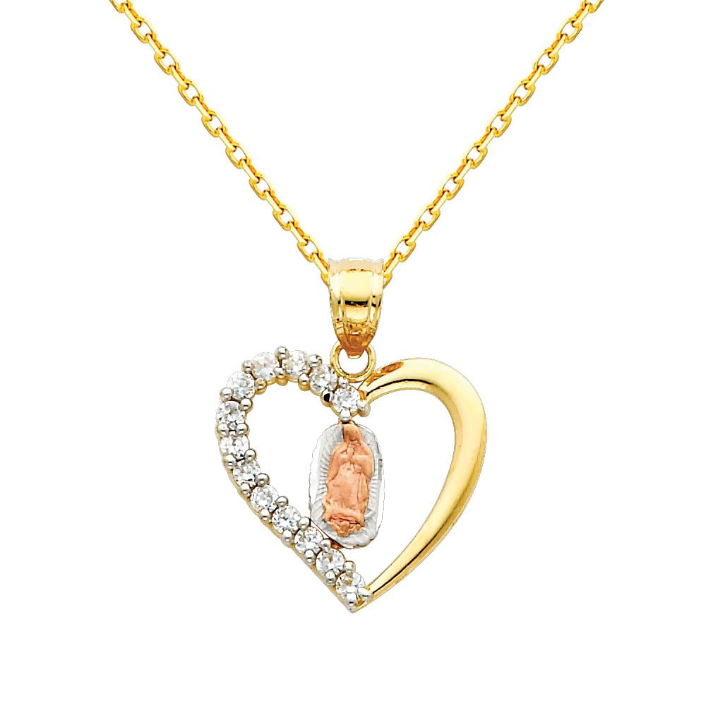 14k Tri Color Gold Religious Mary Guadlupe CZ Pendant with 1.2mm Cable Chain Necklace