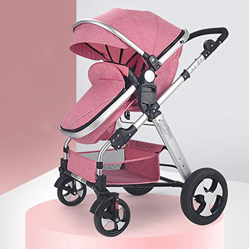 TXTC Compact Convertible Luxury Strollers, Pushchair Stroller,Portable Pram Carriage Multifunctional Pushchair ,5-Point Harness and High Capacity Basket (Color : Pink)