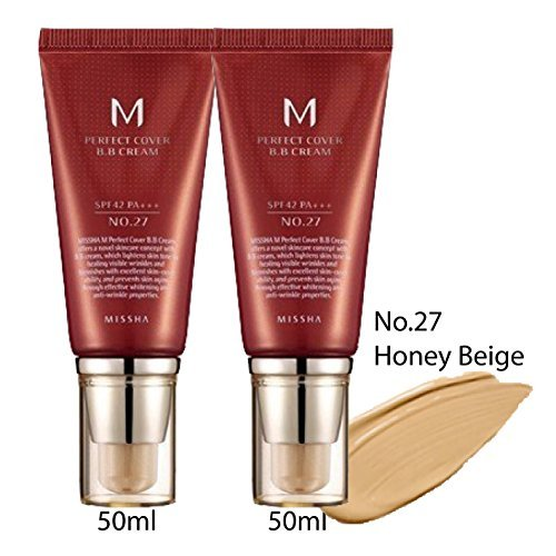 Missha M Perfect Cover Bb Cream two(2) tubes 50ml (No.27/honey Beige) (Beige Missha Honey)