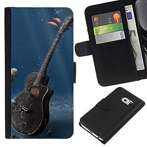 All Phone Most Case / Oferta Especial Cáscara Funda de cuero Monedero Cubierta de proteccion Caso / Wallet Case for Samsung Galaxy S6 EDGE // Music Guitar