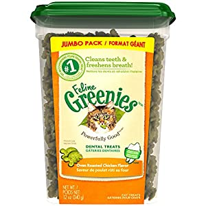 FELINE GREENIES Dental Treats for Cats Oven Roasted Chicken Flavor 12 oz.