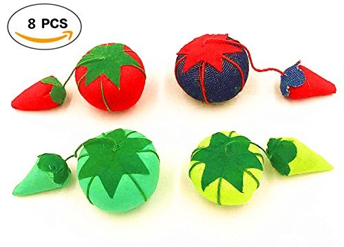 Four Colors 1 inch Babycolas Mum 8PCS Vintage Tomato and Strawberry Pin Cushions,Original Classic Tomato Pin Cushion