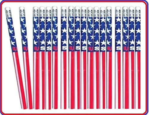 Patriotic Gift Pail - Patriotic Long Pencils (Pack of 36, Size: 7.6
