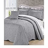 4 Piece 120 X 120 Grey Oversized Damask Bedspread King To The Floor, Hangs Over Edge Gray Floral Bedding Drops Side Bed Frame Drapes Large Extra Wide Long French Country Pattern, Polyester