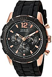 Guess Men's U0864g2 Sporty Rose-gold Stainless Steel Multi-function Watch With Chronograph Dial & Silicone Strap Buckle