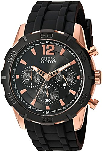 GUESS Men's U0864G2 Sporty Rose-Gold Stainless Steel Multi-Function Watch with Chronograph Dial and Silicone Strap Buckle
