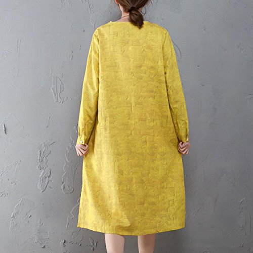Neck Printed Round Dress Women Loose Casual Ramie Summer Yellow Irregular Sleeve Long BUYKUD RwYIw