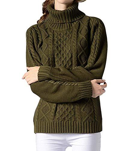 Tamaño Oudan Manga Mujer Alto Ejercito Elegante Larga Cuello color Casual Para L Verde De Con Suéter HqRrwz6EH