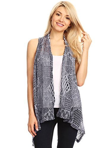 AnnaKaci Womens Sleeveless Shawl Cardigan Crochet Open Front Bikini Cover Up VestGreyMedium / Large