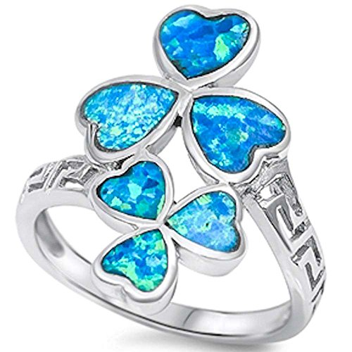 Created Blue Opal Clover Heart .925 Sterling Silver Ring Sizes 6-10